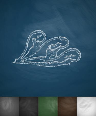 masses: wave icon. Hand drawn vector illustration. Chalkboard Design