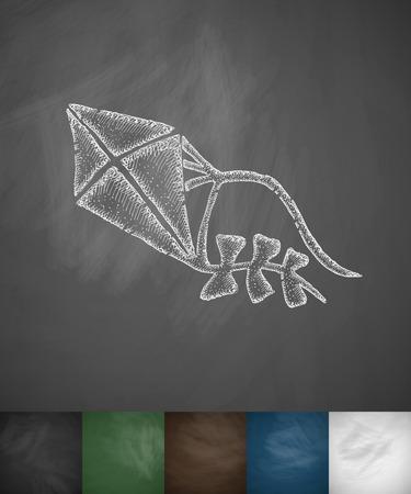 masses: kite icon. Hand drawn vector illustration. Chalkboard Design