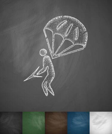 parachuter: parachuter icon. Hand drawn vector illustration. Chalkboard Design Illustration