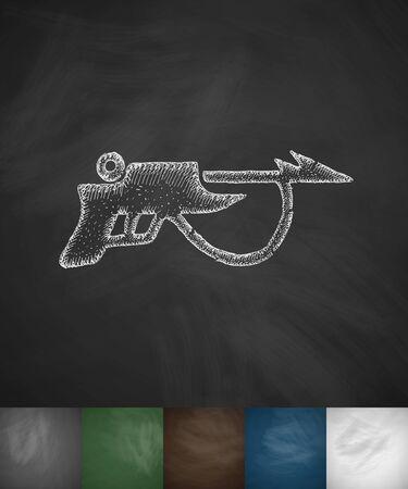 speargun: speargun icon. Hand drawn vector illustration. Chalkboard Design