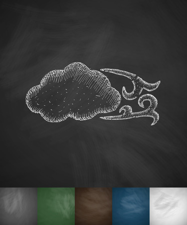 winds: blowing cloud icon. Hand drawn vector illustration. Chalkboard Design