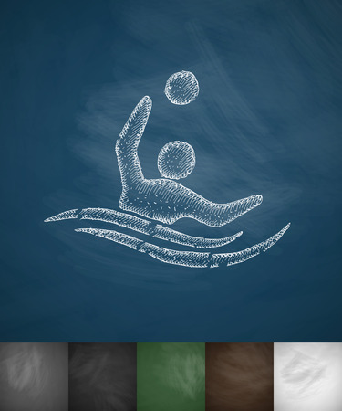 pool player: water polo icon. Hand drawn vector illustration. Chalkboard Design