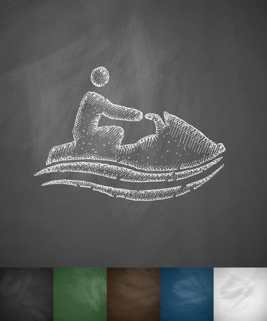 watercraft: watercraft icon. Hand drawn vector illustration. Chalkboard Design