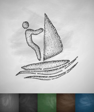 hydroplaning: windsurfing icon. Hand drawn vector illustration. Chalkboard Design