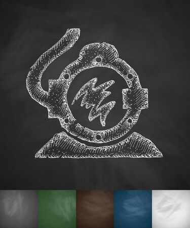 diving suit icon. Hand drawn vector illustration. Chalkboard Design