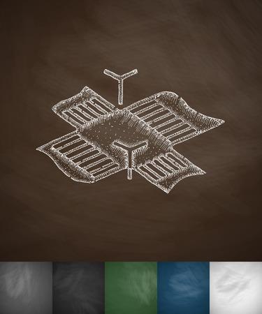 intersection icon. Hand drawn vector illustration. Chalkboard Design