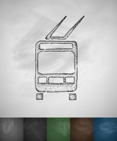 trolleybus: trolleybus icon. Hand drawn vector illustration. Chalkboard Design Illustration