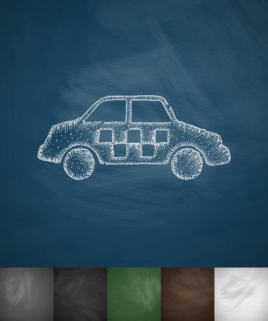taxista: icono de taxi. Dibujado a mano ilustración vectorial. Pizarra Diseño