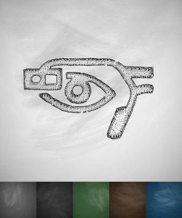 glasses eye: smart glasses eye icon. Hand drawn vector illustration. Chalkboard Design