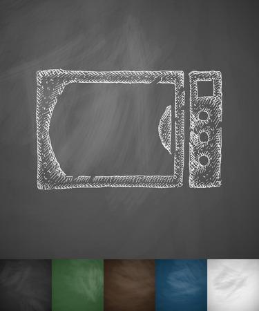 steam cooker: microwave icon. Hand drawn vector illustration. Chalkboard Design
