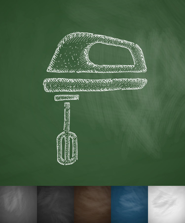 shredder machine: mixer icon. Hand drawn vector illustration. Chalkboard Design