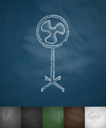 masses: fan icon. Hand drawn vector illustration. Chalkboard Design Illustration