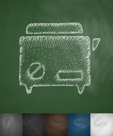bread maker: bread maker icon. Hand drawn vector illustration. Chalkboard Design