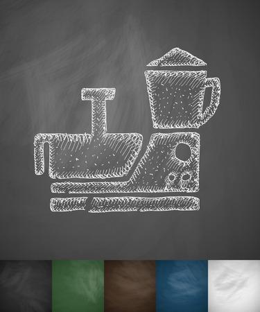 food processor: food processor icon. Hand drawn vector illustration. Chalkboard Design Illustration