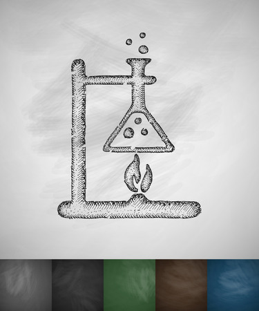 bunsen burner: bunsen burner icon. Hand drawn vector illustration. Chalkboard Design