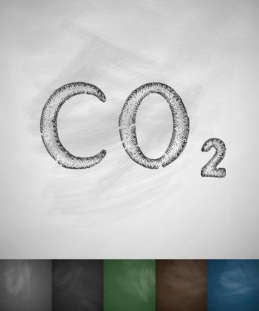dioxide: carbon dioxide icon. Hand drawn vector illustration. Chalkboard Design