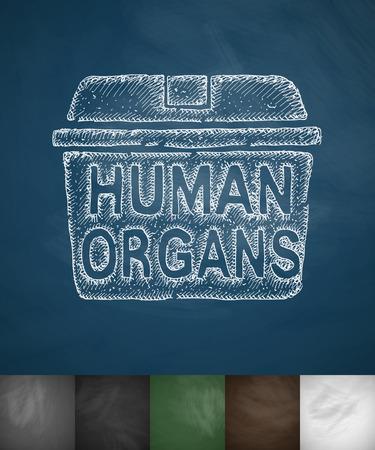 organ donation: suitcase for organ donation icon. Hand drawn vector illustration. Chalkboard Design