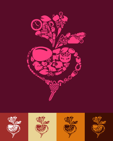 carotene: illustration of the beet with icons composition