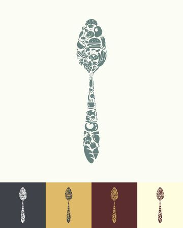 wooden spoon: illustration of the spoon with icons composition Illustration