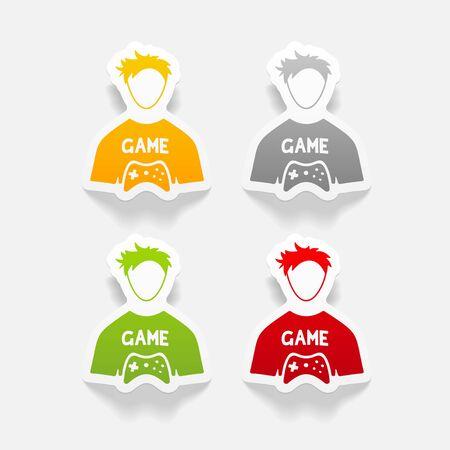 gamer: realistic design element. gamer