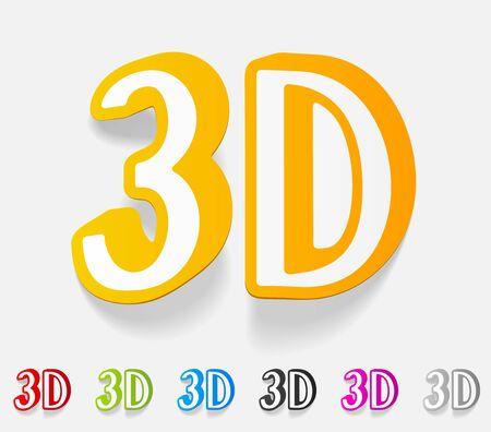 three d: realistico elemento di design. Tre D
