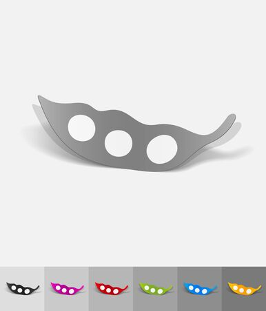 pea pod: pea pod paper sticker with shadow. Vector illustration Illustration