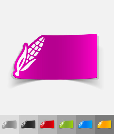 corn stalk: corn paper sticker with shadow. Vector illustration