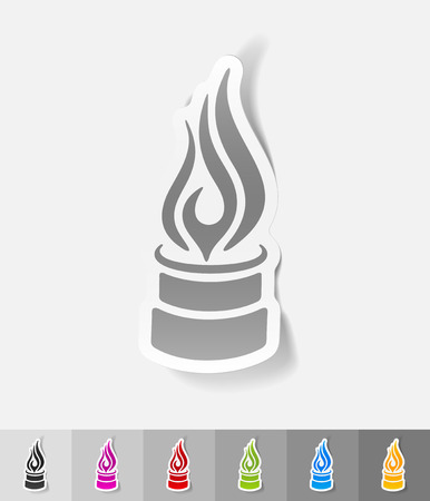 oil industry: pipe with a flame paper sticker with shadow. Vector illustration