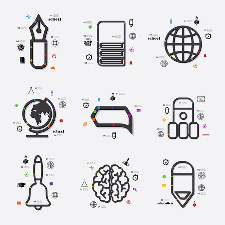 fully editable: education line infographic illustration. Fully editable vector file Illustration