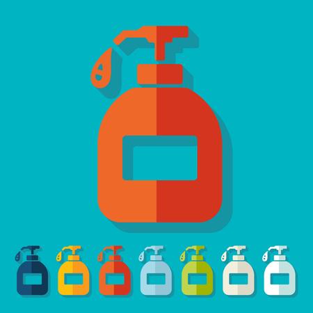 jabon liquido: Diseño plano: jabón líquido Vectores