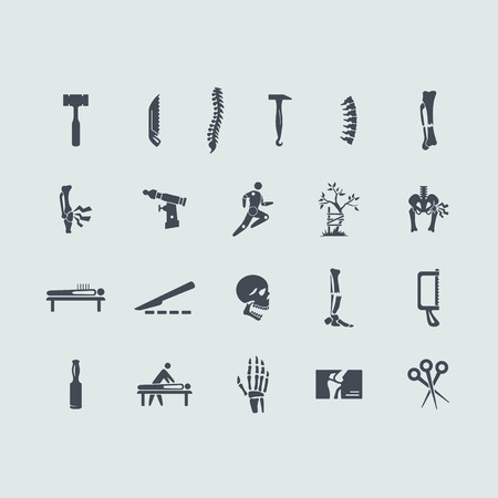 orthopaedics: conjunto ortopedia vectorial de iconos simples modernos