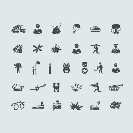sharpshooter: war vector set of modern simple icons Illustration