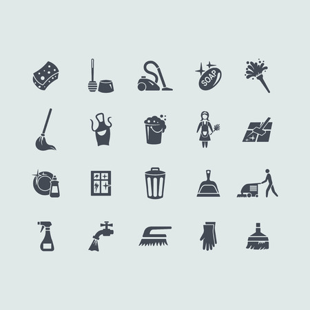 cleaning woman: cleaning vector set of modern simple icons