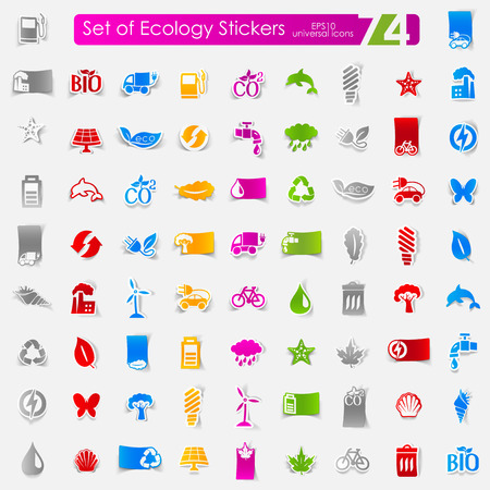 recycle area: ecology vector sticker icons with shadow. Paper cut