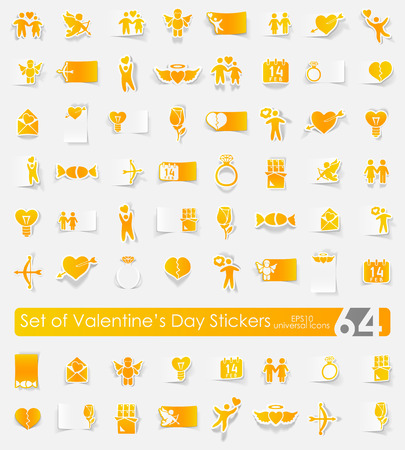 inclination: Valentines Day vector sticker icons with shadow. Paper cut
