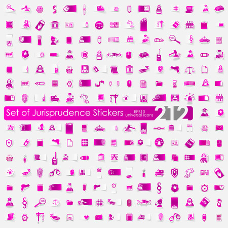 jurisprudence: jurisprudence vector sticker icons with shadow. Paper cut