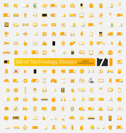 technology vector sticker icons with shadow. Paper cut