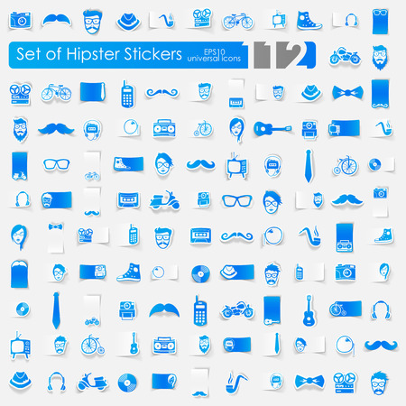 admirer: hipster vector sticker icons with shadow. Paper cut