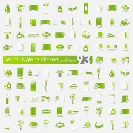 personal hygiene: hygiene vector sticker icons with shadow. Paper cut
