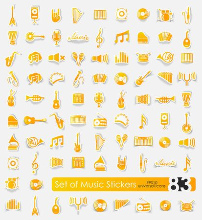 music vector sticker icons with shadow. Paper cut Illustration