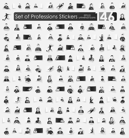 professionalism: professions vector sticker icons with shadow. Paper cut