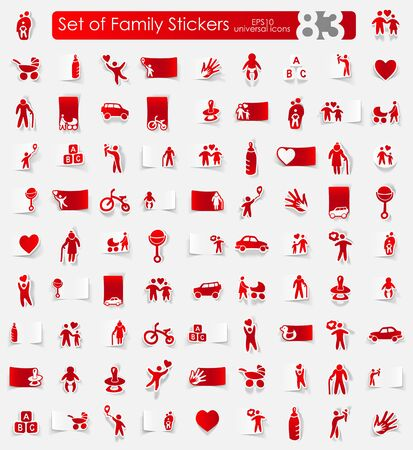 conjugal: family vector sticker icons with shadow. Paper cut