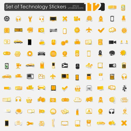 computer system: Set of technology stickers