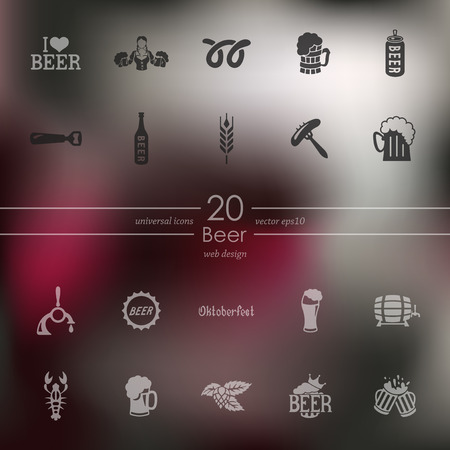glass of beer: beer modern icons for mobile interface on blurred background Illustration