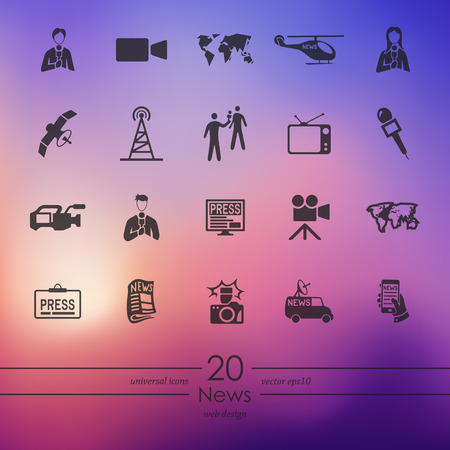 interviewer: news modern icons for mobile interface on blurred background