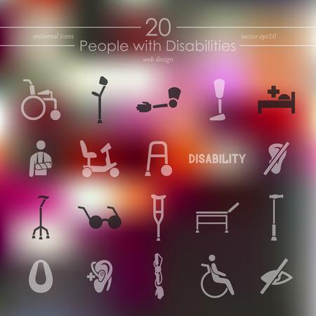 discapacidad: personas con discapacidad iconos modernos para la interfaz móvil en el fondo borroso Vectores