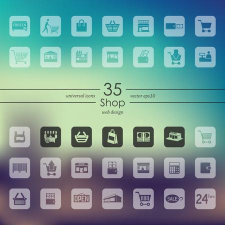 compras iconos modernos para la interfaz móvil en el fondo borroso