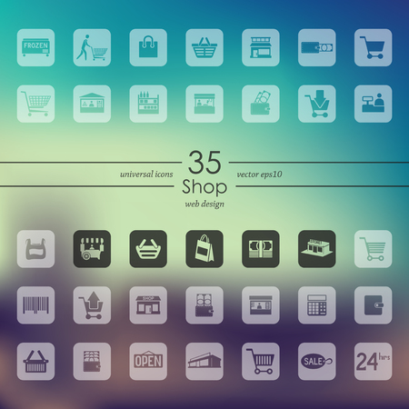 grocery store: shop modern icons for mobile interface on blurred background