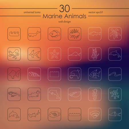 marine animals: marine animals modern icons for mobile interface on blurred background Illustration