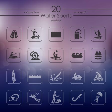 water sports: water sports modern icons for mobile interface on blurred background